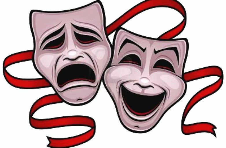 le due classiche maschere del teatro: una sorridente, l'altra triste
