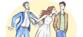 Disegno di una donna che sta tra due uomini, attirando l'attenzione di entrambi