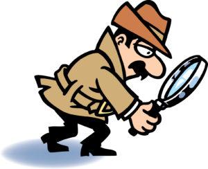 Detective stilizzato che cerca degli indizi a terra