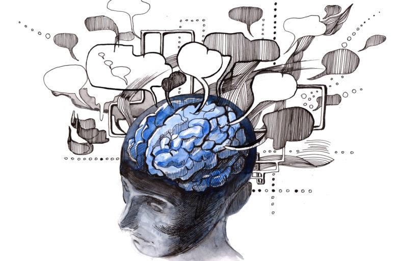 Cervello dal quale escono fumetti vuoti e fumo