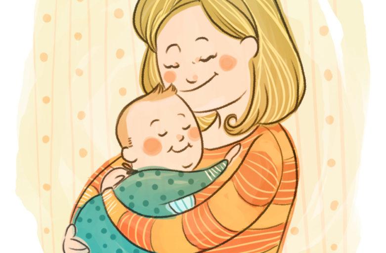 Disegno di una mamma col suo bambino