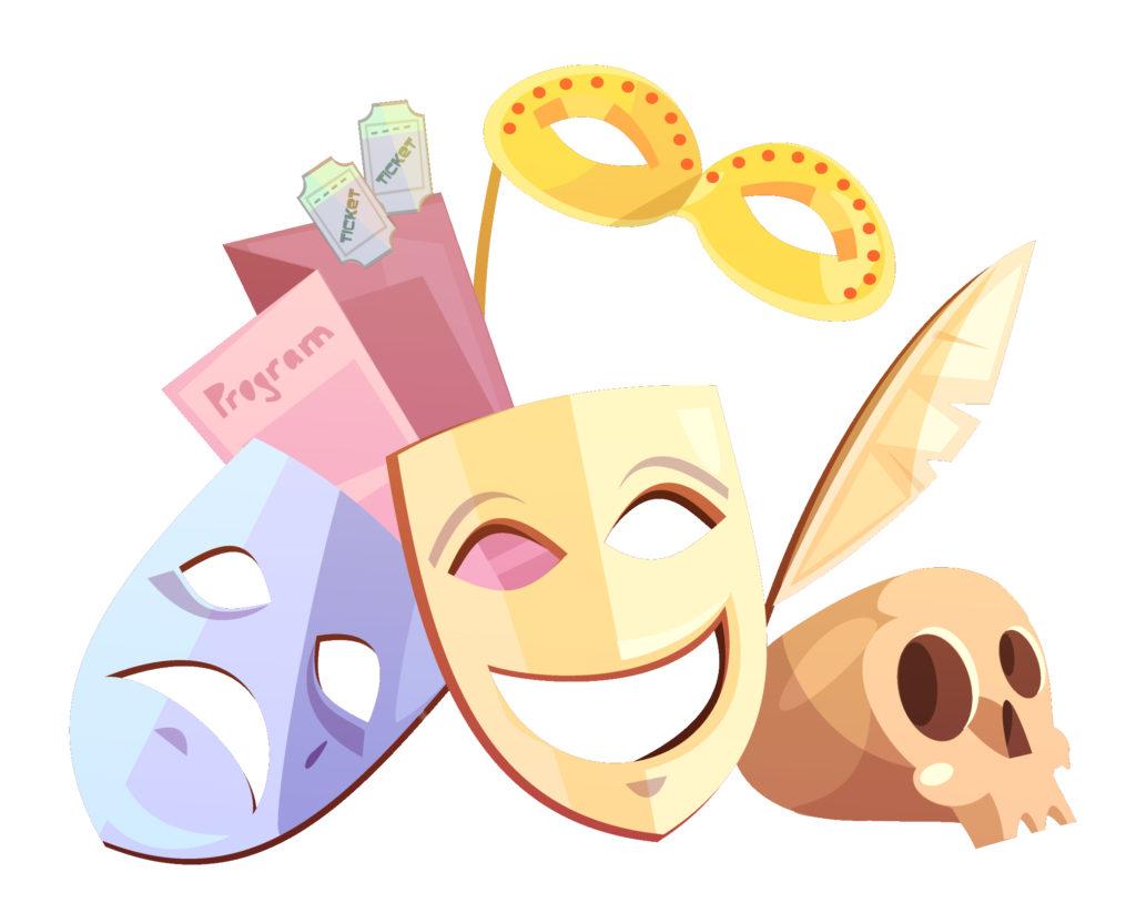Due maschere del teatro, il teschio di Amleto, una piuma di Shakespeare, un Copione