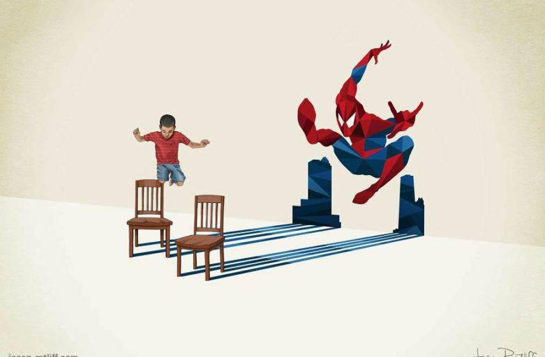 Bambino che salta con l'ombra di un supereroe