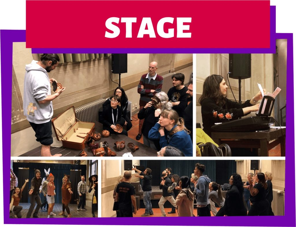 Collage di quattro foto di alcuni stage teatrali (commedia dell'arte, canto corale, musical, improvvisazione)