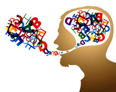 Lettere colorate dentro al cervello che fuoriescono dalla bocca